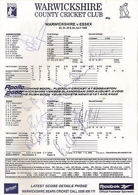 Warwickshire v Essex County Championship Match 1998 Multi Signed