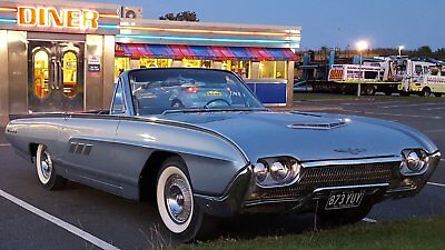 1963 Ford Thunderbird V8 convertible in silver mink.