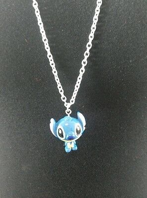 "A Disney Stitch Charm Pendant Necklace with 30"" Long Silver Tone Chain"