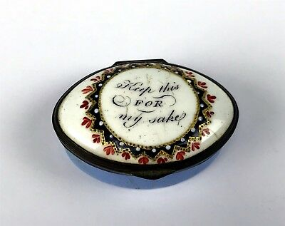 "Antique Bilston Battersea Enamel Patch Box ""Keep This For My Sake"""
