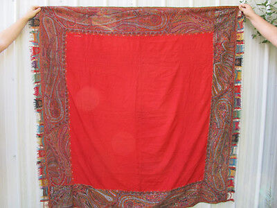 Antique 19th c Lovely Victorian Kashmir Paisley Shawl Hand Woven Jacquard #2 yqz