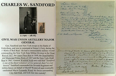 CIVIL WAR NEW YORK DRAFT RIOTS GENERAL 7th NY INFANTRY REGIMENT DOCUMENT SIGNED!