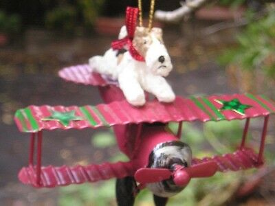 Wire Fox Terrier  AIRPLANE Ornament!