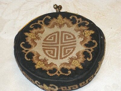 VINTAGE UNIQUE Black and Gold CLOTH COIN PURSE Kiss Lock