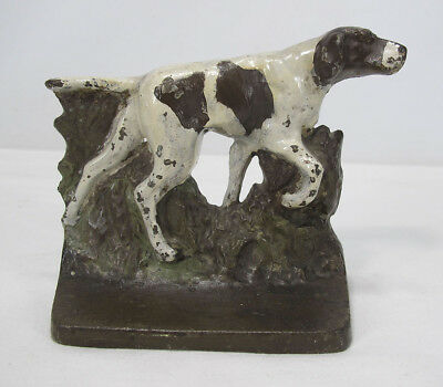 Antique c 1930s Hubley Cast Iron Pointer Hunting Dog Bookend Doorstop Statue yqz