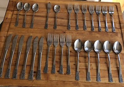 Vintage Silverware Set Mid Century Flatware Stainless Steel Retro MCM Decor