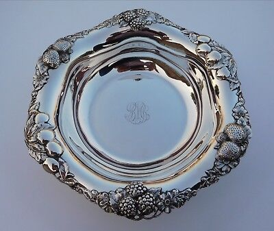Edwardian 1900s Art Nouveau Sterling Silver Very Berry Strawberry Cherry Bowl !