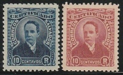 EL SALVADOR1897 SC# F1 R1 10c dk blue  SC# F2 R1 brn lake REGISTRATION STAMPS