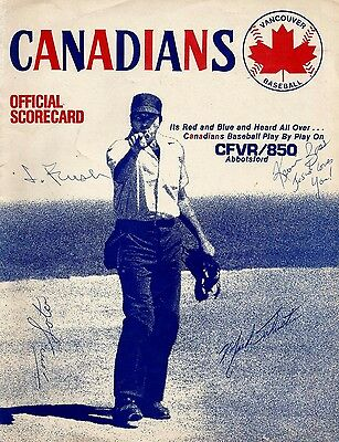 1981 Vancouver Canadians Signed Scorecard. Rare and in Great Shape!