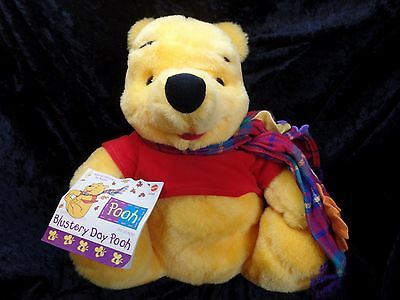 "Blustery Day Pooh With Scarf 13"" Plush Bear Toy Collectible"
