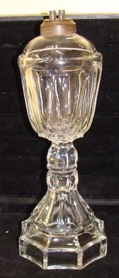 "Antique Clear Pressed Glass ""Flute"" Whale Oil Lamp, c. 1840"