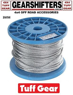 100M Galvanised Wire Rope Cable 6x7 FC 3mm - 4mm all on spools great for fencing