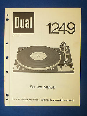 DUAL 1249 TURNTABLE SERVICE MANUAL ORIGINAL FACTORY ISSUE THE REAL THING   v1