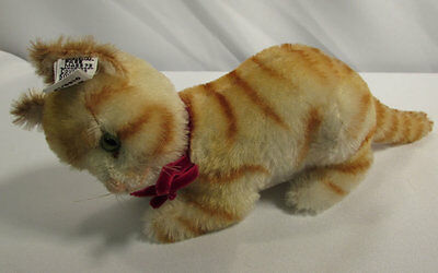 Vintage Steiff Mohair Yellow Orange Striped Tiger Cat West Germany LE 0146/13
