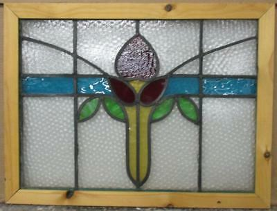 """MID SIZED OLD ENGLISH LEADED STAINED GLASS WINDOW Pretty Abs Floral 23"""" x 17.5"""""""