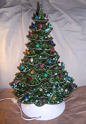 Vintage 18 Lighted Ceramic Christmas Tree Base Arnels Unusual Paint Speckled