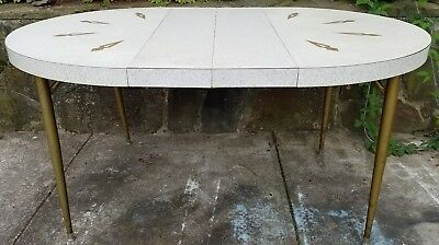 "Vintage Mid Century Retro Formica Kitchen Table Brass Legs 2 Leaves 59"" X 41"