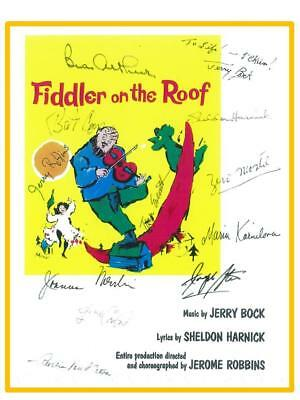 Fiddler On The Roof Original Opening Night Broadway Signed Script Zero Mostel