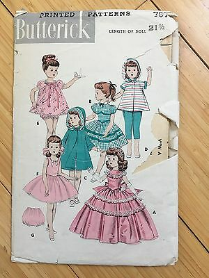 "Butterick 7975 Vintage 21-1/2"" Doll Dress Original Pattern 1950s"