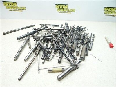 """Large Lot Of 50+ Assorted Hss Drills .0240"""" To 1/2"""" Ptd Fullerton Cleveland W&b"""