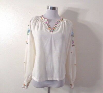 60s LILY WHITE & MULTICOLOR FLORAL HAND EMBROIDERY BOHEMIAN HIPPIE TOP SZ S