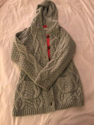 Boden 7-8 Cableknit Grey Long Hooded Cardigan