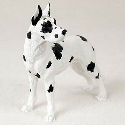 GREAT DANE Harlequin Cropped DOG Figurine Statue Hand Painted Resin Gift