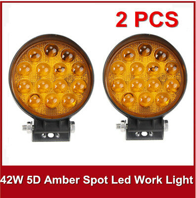 "2PCS 42W 5D 4"" Amber Round LED Work Light Spot Fog Lamp Jeep Offroad Boat Yellow"