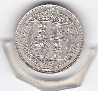 Sharp  1887   Queen  Victoria  Sterling  Silver  Shilling  British Coin