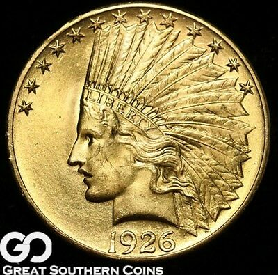 1926 Eagle, $10 Gold Indian, Gem BU++ Lustrous Beauty! ** Free Shipping!