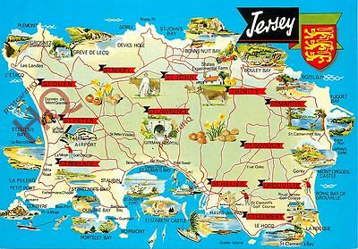 Picture Postcard; Jersey, Map [Bamforth]