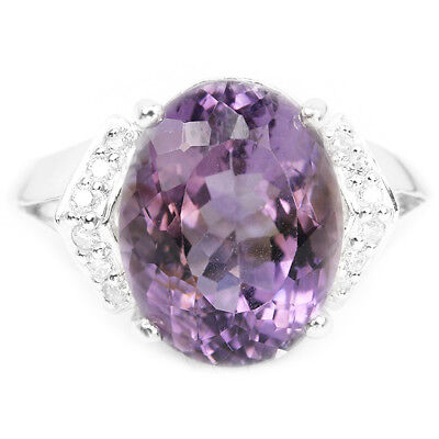 Natural 13X10 Mm. Aaa Purple Amethyst & White Cz Sterling 925 Silver Ring 6.5