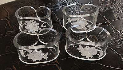 Lucite Floral Intaglio Napkin Rings Retro Home Decor Hostess Holiday Table