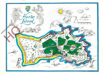 Picture Postcard-:Herm Island, Map