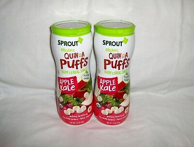 Sprout Organic Quinoa Puffs Baby Cereal Snack - Apple Kale 1.5 oz x 2  06/2018