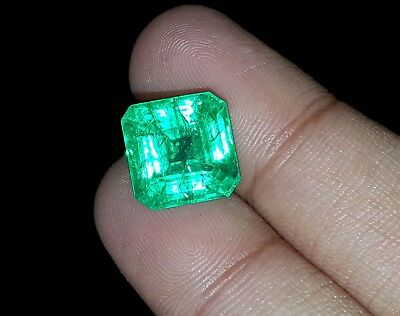 Excellent Square Shape 7.87 Ct Natural Certified Colombian Emerald
