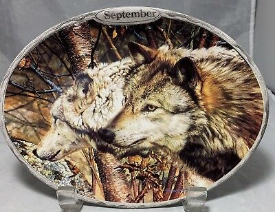 Wolves oval decorative plate Sentinels of the Seasons September by Carl Brenders