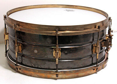 LEEDY 1920s Black Elite Brass Shell Engraved Brass Hardware 6.5X14 EMS F/S