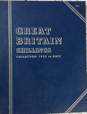 Elizabeth II set of Great Britain Shillings 1953 to DATE in folder Whitman 9695