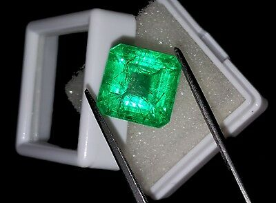 Certified Excellent Square Shape 10.77 Ct Natural Colombian Emerald