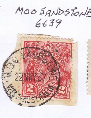 *WA POSTMARKS.MOO SANDSTONE.Type D26MOO.On 2d KGV.CTS.Rated3.*