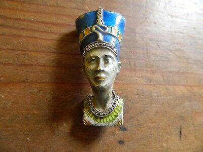 Antique art deco egyptian revival silver and enamel brooch Nefertiti
