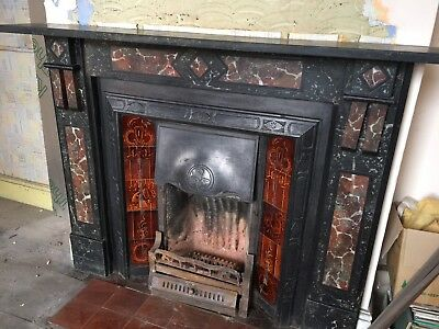 Original Slate Marble Effect Fire Surround and Cast Iron Fireplace