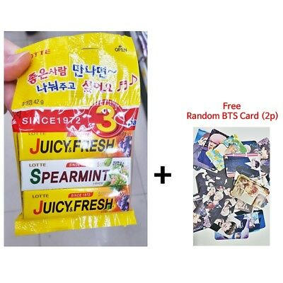 K-POP LOTTE Korea LOTTE Juicy&Fresh Chewing Gum 1Set=3Pcs +Free BTS photo Card