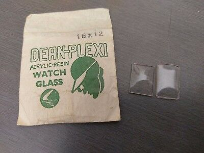 Vintage Cocktail Rectangle Shape WATCH Crystal -  16mm x 12mm