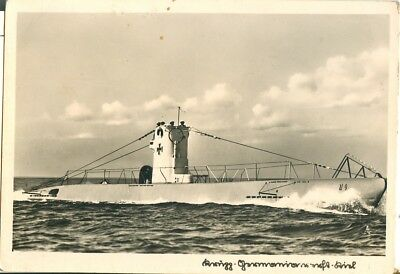 German U9 submarine. Postcard. Real Photo postcard