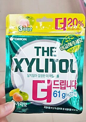 Korea Chewing gum Lotte Xylitol Sugar Free (3 Flavor Peach+Apple+Lemon) 61g