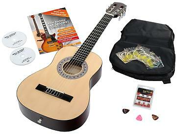 Classical Acoustic Concert Guitar Set Bag 6 Strings Picks Pitch Pipe Natural 1/2