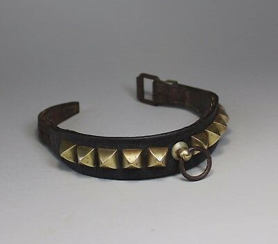 Antique 19th Century Leather and Brass Studded Dog Collar