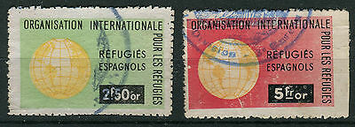 Pair Of Spanish Refugees Revenue Stamps